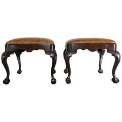 English Queen Anne Style Mahogany Leather Benches, Pair