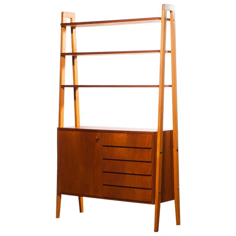 1950s, Teak and Beech Cabinet Bookshelves, Sweden