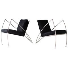 Modern Steel Studio Lounge Chairs by Stephen K Stuart