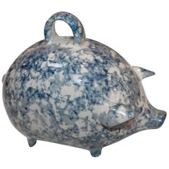 Sponge Ware Pottery Piggy Bank / Rare