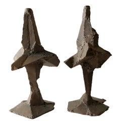 Daniel Gluck Brutalist Patchwork Metal Candleholders