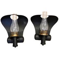 """Pair of Antique Tole """"Cobra"""" Oil Lamp Sconces, Now Electrified"""