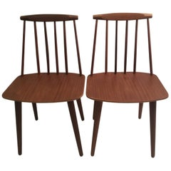 Pair of Folke Palsson J77 Chairs in Teak