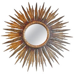 Midcentury French Sunburst Mirror with Feathered Rays and Original Mirror Glass