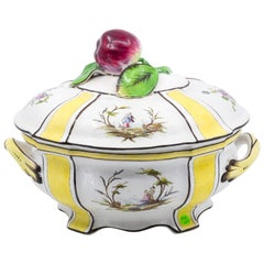 Yellow Tureen with Lid and Apple Finial, French, 19th Century