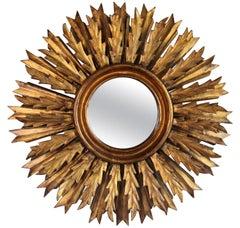 Midcentury French Double Layer Sunburst Mirror with Original Mirror