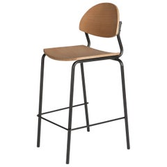 Chips Bar Chair, Black Steel Tube Frame or Beech Timber Seat