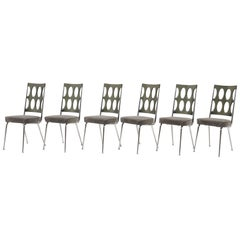 Set of Six Chrome Craft Dining Chairs, Gray Acrylic Backs and New Velvet Seats
