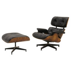Eames Lounge Chair 670 and Ottoman 671, Rosewood and Restored Black Leather