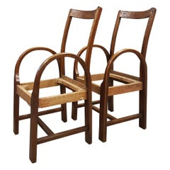 1920s Oak Bentwood Armchairs