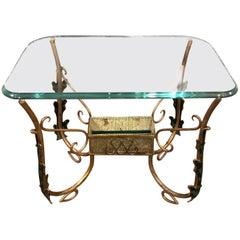 Pier Luigi Colli Mid-Century Modern Italian Brass and Glass Side Table, 1950