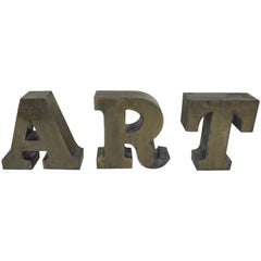 1960s Three Vintage Italian Uppercase Letters ART in Brass
