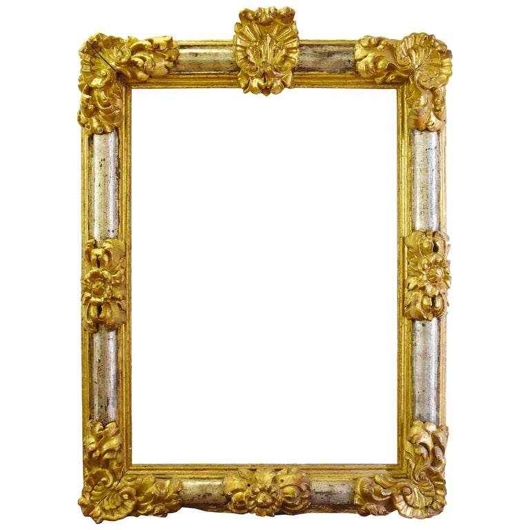 18th Century Baroque Spanish Fruitwood Gilded and Silvered Frame For Sale