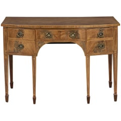 Small George III Sheraton Period Inlaid Mahogany Bow-Fronted Sideboard