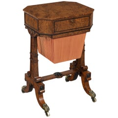 Early 19th Century Regency Period Burr Myrtle Occasional Work Table