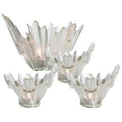Set of Ice Glass Candelholders / Bowls Wirkkala for Humppila, 1960s