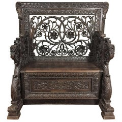 Late 19th Century Rare Chest Bench in Walnut Fully Carved with Openwork