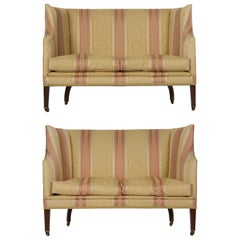 19th Century Pair of English George III Antique Mahogany Canapé Sofas