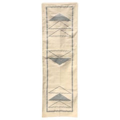 Geometric Nicole Handwoven Modern Silver Runner Rug, Carpet, Durrie