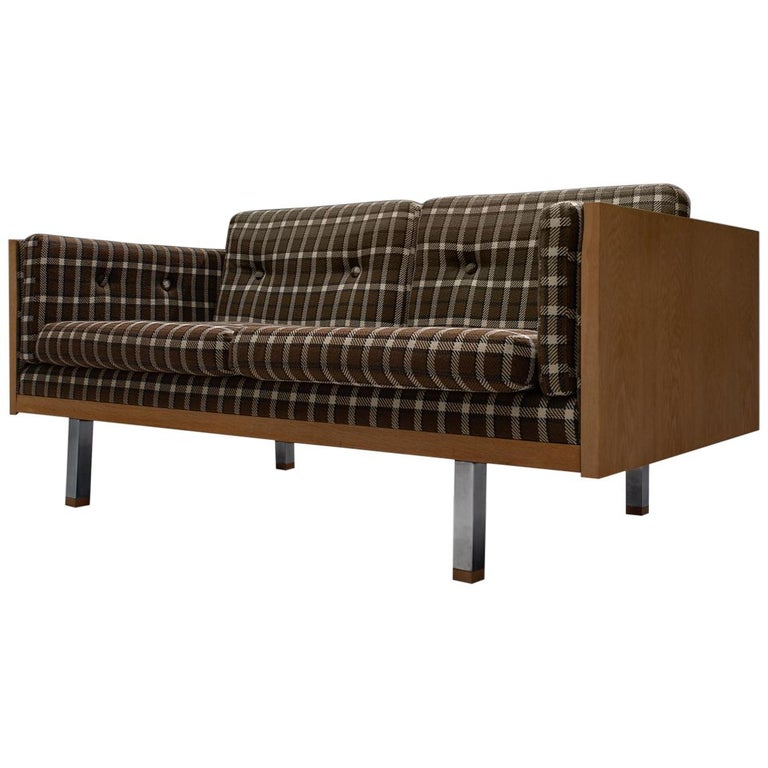 Scandinavian Two Seat Sofa In Oak And Checkered Upholstery For