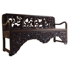 Antique Bench Hall Seat Heavily Carved 20th Century 1900s Oriental Chinese