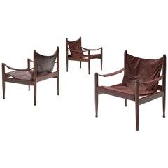 Erik Wørts Safari Chairs in Dark Brown Leather, 1960s