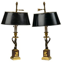 Pair of Directoire Gilt and Patinated Bronze Candlesticks Mounted as Lamps