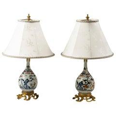 Pair of Japanese Ormolu Mounted Imari Vases Mounted as Lamps