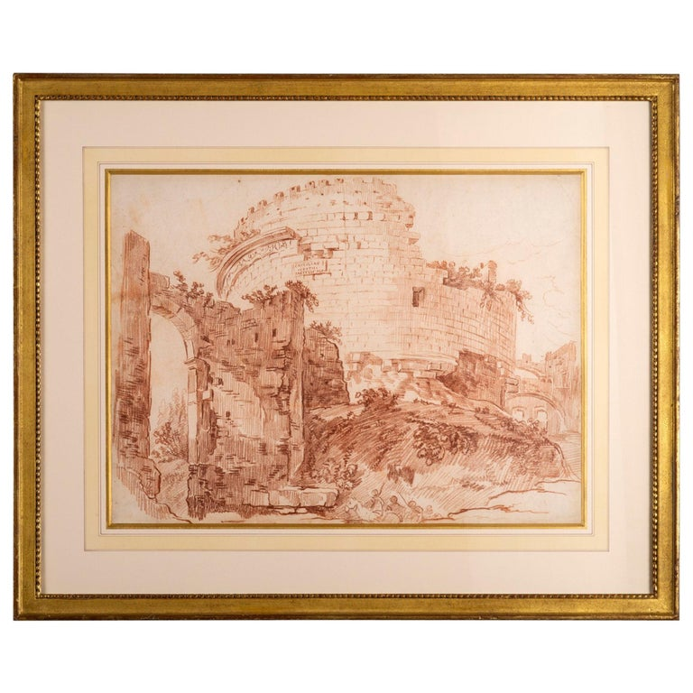 Large 18th Century Red Chalk Drawing of Ruins after Hubert Robert For Sale