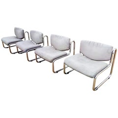 Two Pair of Gray Leather Lounge Armchairs, Italy, 1970