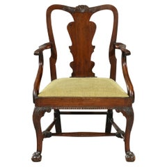 18th Century George III Period Mahogany Carved Elbow Armchair