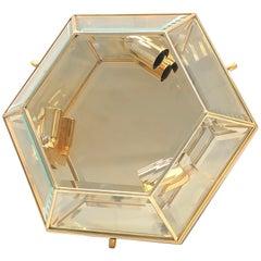 Mid-Century Modernist Hexagonal Flush Mount Brass and Glass