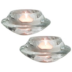 Pair of Crystal Glass Votive Candle Holders by Royal Copenhagen