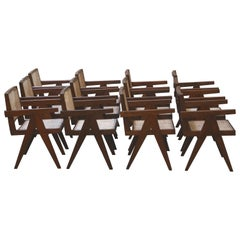 Exceptional Set of 12 Pierre Jeanneret Amchairs