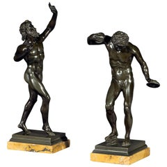 Early 19th Century Pair of Bronze Figures on Sienna Marble Bases
