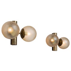 Pair of Brass Colored Wall Lights with Structured Glass