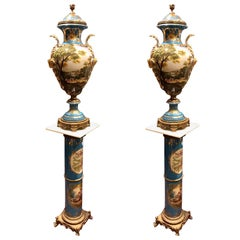 Late 20th Century, Pair of Sky Blue Vases & Stands - European