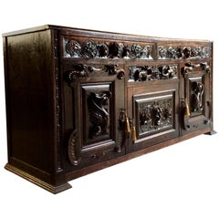 Antique Green Man Oak Sideboard Dresser Buffet Heavily Carved 19th Century, 1890