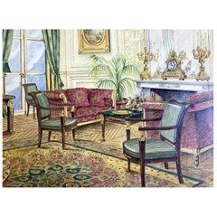 20th Century Italian Architectural Original Executive Sketch Hotel Ritz Paris