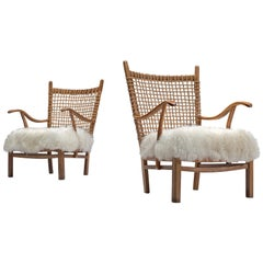 Dutch Pair of Armchairs with Rope Back and Tibetan Wool