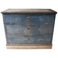 19th Century Continental Blue Painted Pine Chest of Drawers, circa 1840
