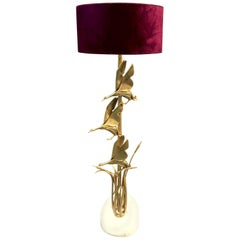 Golden Brass Floor Lamp Sculptural Birds on a Marble Base by Lancia Italy, 1970s