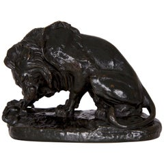 """Antique French Barbedienne Bronze Sculpture """"Lion au Serpent"""" after Antoine-Loui"""