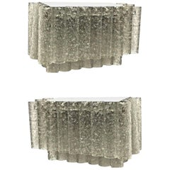Pair of Two-Tiered 1960s German Doria Leuchten Glass Tube Sconces