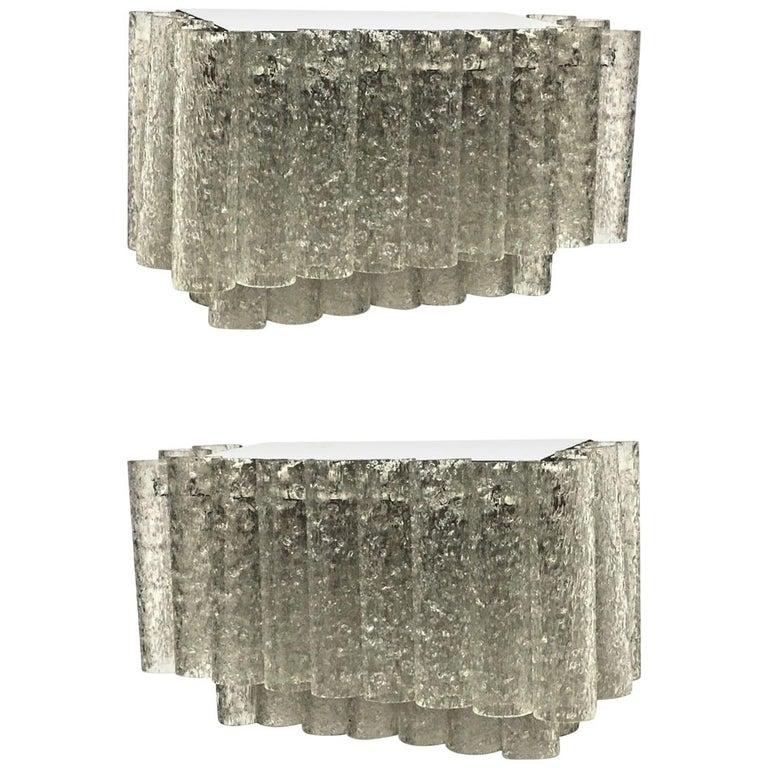 Pair of Two-Tiered 1960s German Doria Leuchten Glass Tube Sconces