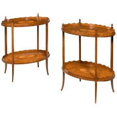 Matched Pair of Late Victorian Satinwood Tray Tables