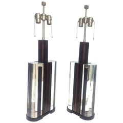 Mid-Century Modern Acrylic and Macassar Ebony Wood Pair of Lamps, in Stock