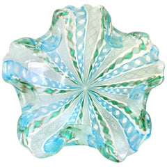 Fratelli Toso Murano Blue Green Snowflake Flower Ribbons Italian Art Glass Bowl