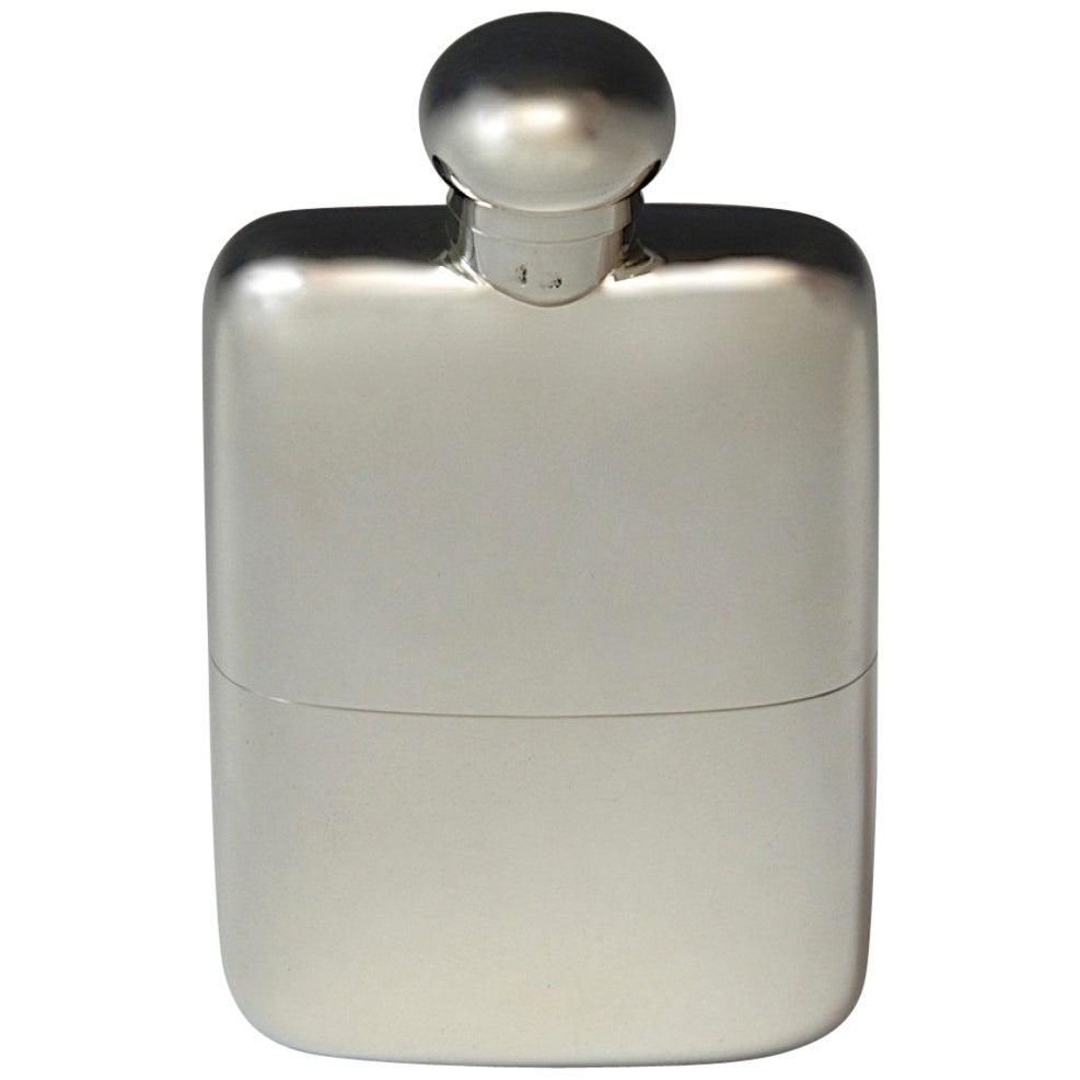 Sterling Silver Hip Flask, hallmarked 1907.