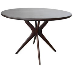 1950s Ico Parisi Style Italian Round Pedestal Table